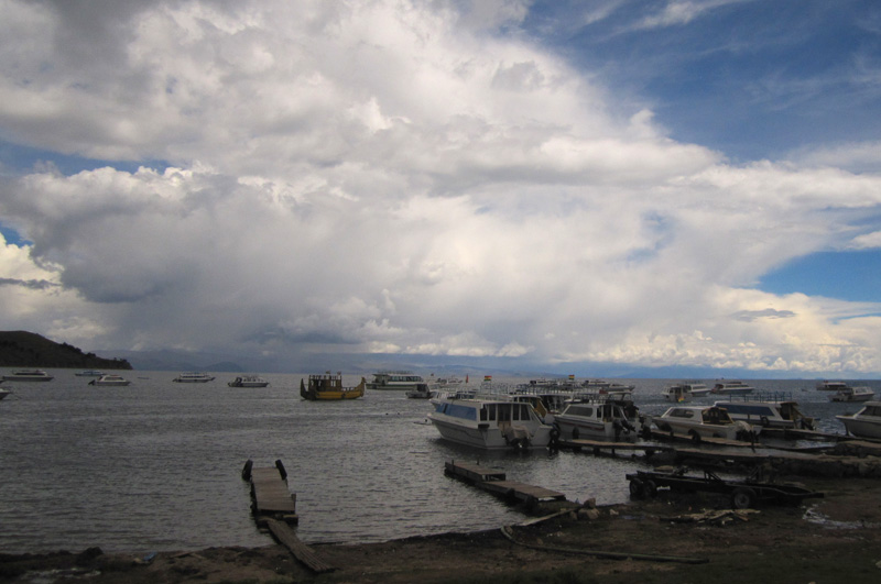 Clouds forming along Lake Titicaca